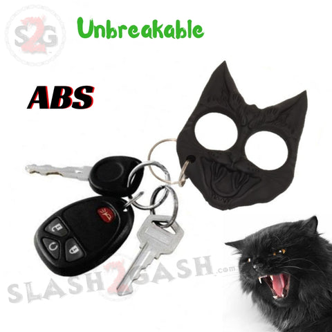My Kitty Self Defense Evil Cat Keychain Abs Knuckles Black
