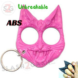 My Kitty Cat Self Defense Key Chain Knuckles Unbreakable Plastic Two-Finger Knucks - Pink Evil Cat
