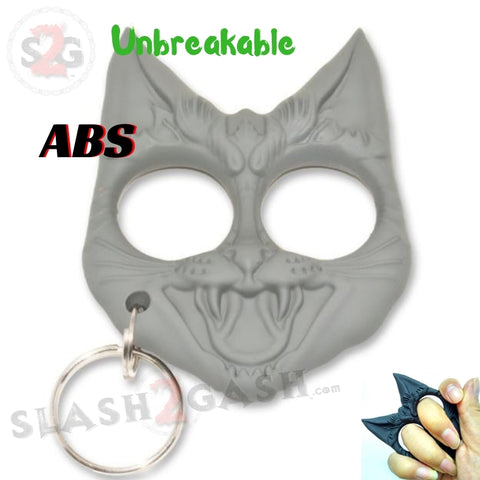 Evil Cat My Kitty Cat Self Defense Key Chain Knuckles Unbreakable Plastic Two-Finger Knucks - White