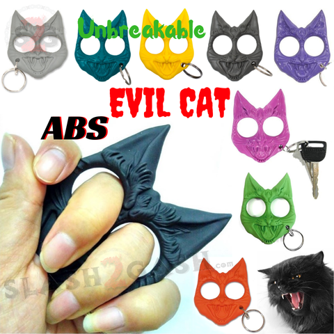 "Evil Cat ""My Kitty"" Cat Self Defense Key Chain Knuckles Unbreakable Plastic Two-Finger Knucks - 9 colors"