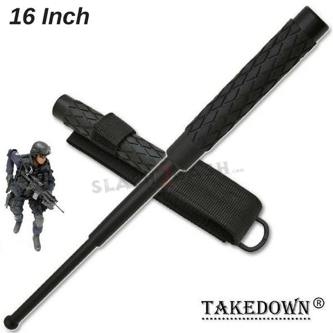 "Expandable Baton Metal Police Stick w/ Sheath - 16"" Inch Steel Law Enforcement Grade"