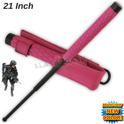 "Expandable Pink Baton Metal Police Stick w/ Sheath - 21"" Inch Steel Law Enforcement Grade"