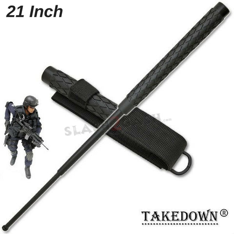 "Expandable Baton Metal Police Stick w/ Sheath - 21"" Inch Steel Law Enforcement Grade"