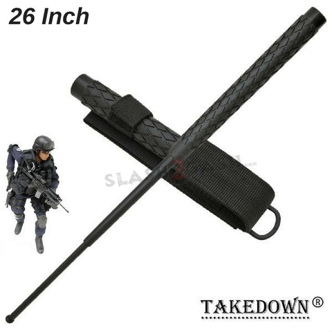 "Expandable Baton Metal Police Stick w/ Sheath - 26"" Inch Steel Law Enforcement Grade"