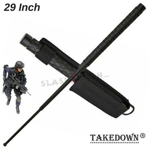 "Expandable Baton Metal Police Stick w/ Sheath - 29"" Inch Steel Law Enforcement Grade"
