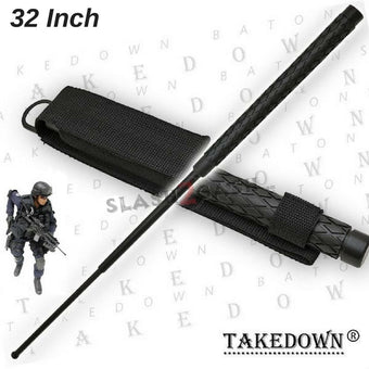 "Expandable Baton Metal Police Stick w/ Sheath - 32"" Inch"