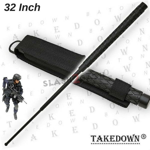 "Expandable Baton Metal Police Stick w/ Sheath - 32"" Inch Steel Law Enforcement Grade"