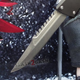 Delta Force Dark Knight 440C OTF Automatic Knife CNC Highest Quality - Interceptor Stonewashed Switchblade