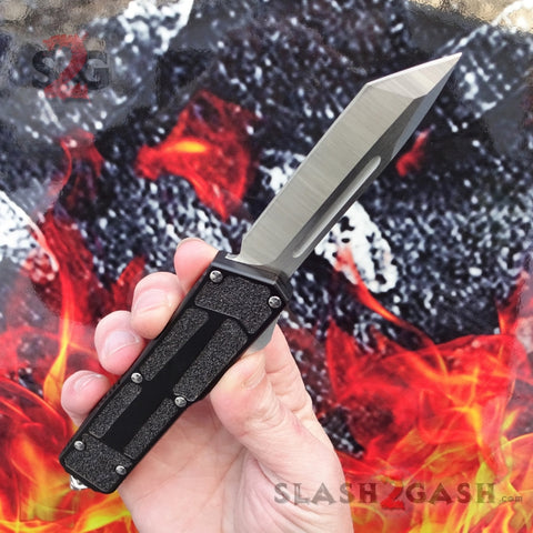 Delta Force Classic Black Scarab D/A OTF Automatic Knife CNC Highest Quality - Satin Tanto Switchblade S2G Slash2Gash