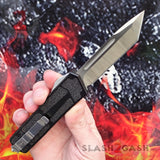 Slash2Gash S2G Delta Force Classic Black Scarab D/A OTF Automatic Knife CNC Highest Quality - Satin Tanto Switchblade