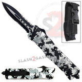 Winter Digi Camo Dual Action OTF Automatic Knife - Double Edge Serrated Dagger
