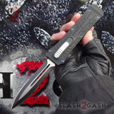 Delta Force OTF Crypt Keeper v2 D/A Automatic Knife - Double Edge Dagger Serrated Switchblade