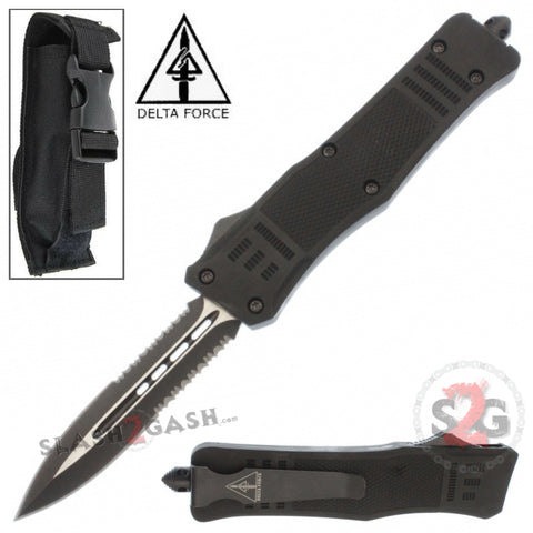 Delta Force Commando D/A OTF Automatic Knife Black - Dagger Serrated Switchblade