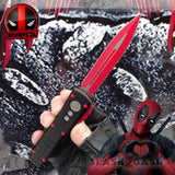 S2G Tactical Knives Deadpool OTF Knife Black Red Dagger Automatic Switchblade CNC Highest Quality - Double Edge Spear Point slash2gash