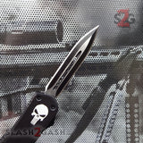 "Delta Force Punisher Skull 7"" Small OTF Automatic Knife D/A Switchblade - Double Edge Plain"