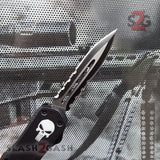 "Delta Force Punisher Skull 7"" Small OTF Automatic Knife D/A Switchblade - Double Edge Serrated"