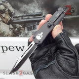 "Delta Force Punisher Skull 7"" Small OTF Automatic Knife D/A Switchblade - Tanto Plain"