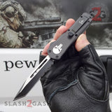 "Delta Force Punisher Skull 7"" Small OTF Automatic Knife D/A Switchblade - Tanto Serrated"