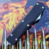 Delta Force OTF Recon D/A Black Automatic Knife - REAL Damascus Double Edge Dagger Spear Point Switchblade