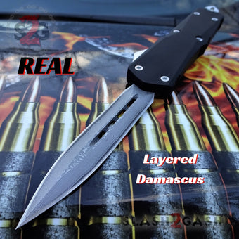 S2G Tactical OTF Recon D/A Black Automatic Knife - Damascus Double Edge