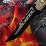 Delta Force Lycan OTF Automatic Knife D/A Tanto Xtreme Switchblade - Golden Wolf