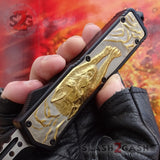 Delta Force Lycan OTF Automatic Knife D/A Hellhound Switchblade - Golden Wolf
