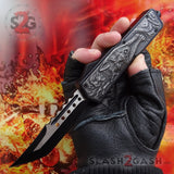 Delta Force Lycan OTF Automatic Knife D/A Hellhound Switchblade - Grey Wolf Gray