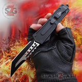 Delta Force Lycan OTF Automatic Knife D/A Tanto Xtreme Switchblade - Titanium Rainbow Wolf