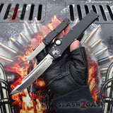"""TheONE"" Mini OTF Dual Action Automatic Knife Black - Tanto 440c Microtech HALO Size Reference Slash2Gash S2G"