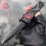 Delta Force Stonewashed OTF Automatic Knife - Rebel Flag Confederate States USA Patriotic Eagle Switchblade