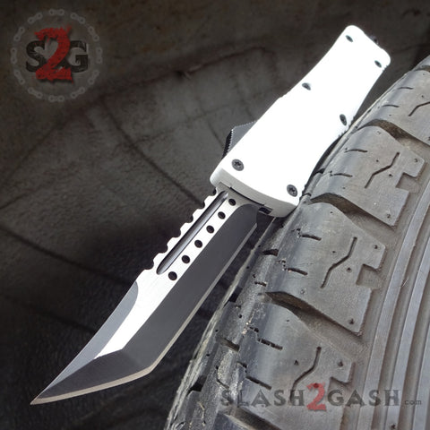Delta Force White Knight OTF Automatic Knife D/A Switchblade - Tanto Extreme Storm Trooper