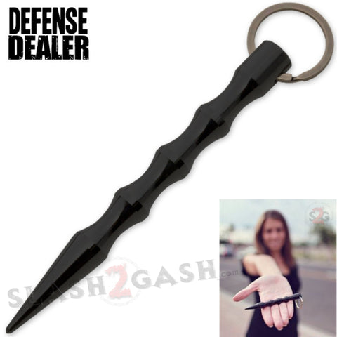 Grooved Kubotan Kubaton Self Defense Stick Keychain - Black Wavy Ninja Weapon Defense Dealer