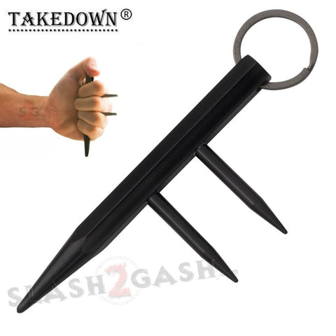 Steel Kubaton Kubotan Self Defense Keychain Stick with Prongs/Spikes - Black Ninja Weapon