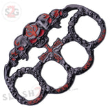Demonic Skulls Belt Buckle Decorative Knucks Paperweight - Red