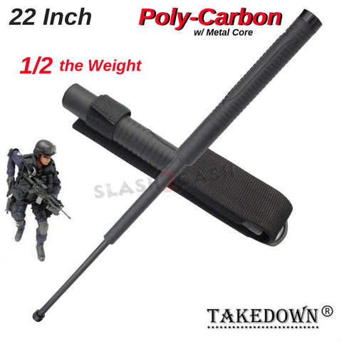 "22"" Inch Lightweight Expandable Police Baton Poly Carbon w/ Metal Core"