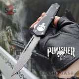 Punisher Skull OTF Knife REAL Damascus Delta Force Automatic D/A Switchblade - Drop Serrated w/ Silver Hardware