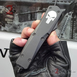 Punisher Skull OTF Knife REAL Damascus Delta Force Automatic D/A Switchblade - Drop Point Serrated Single Edge