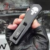 Punisher Skull OTF Knife REAL Damascus Delta Force Automatic D/A Switchblade - Dagger Serrated