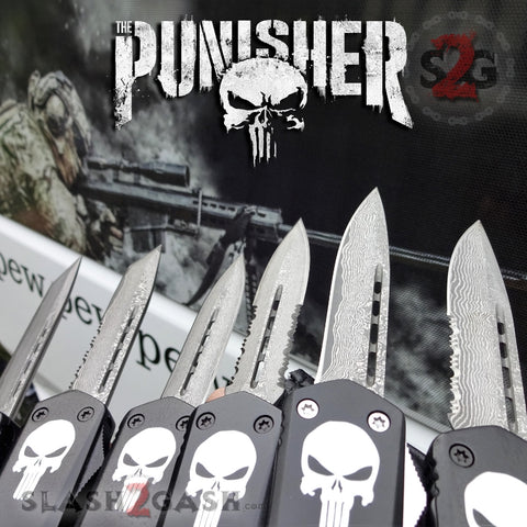 Punisher Skull OTF Knife Black D/A Switchblade - REAL Layered Damascus - Delta Force Automatic Knives Slash2Gash S2G