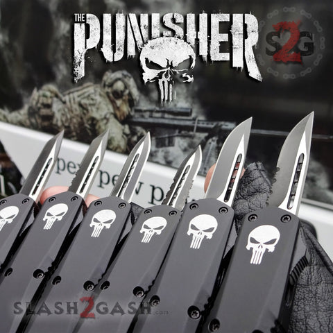 "Punisher Skull OTF Knife Small 7"" Delta Force Automatic Black Switchblade Knives - 6 Blades Slash2Gash S2G"