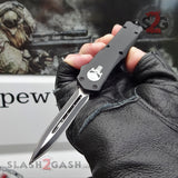 "Delta Force Punisher Skull OTF Knife Small 7"" Automatic Black Switchblade - Double Edge Plain"