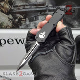 "Delta Force Punisher Skull OTF Knife Small 7"" Automatic Black Switchblade - Double Edge Serrated"
