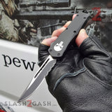 "Delta Force Punisher Skull OTF Knife Small 7"" Automatic Black Switchblade - Drop Point Serrated"