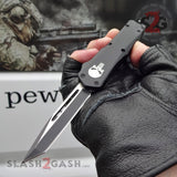 "Delta Force Punisher Skull OTF Knife Small 7"" Automatic Black Switchblade - Tanto Plain Edge"
