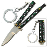 Quicky Keychain Butterfly Knife Mini Novelty Balisong - Camouflage