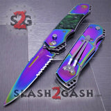 Gentleman's Titanium Rainbow Automatic Knife Serrated - Green Marble Pearl