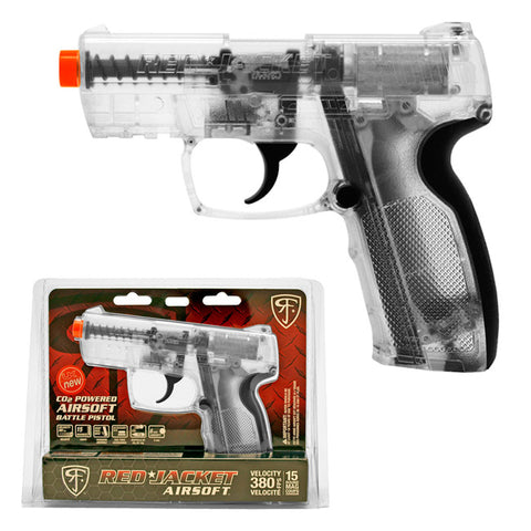 Red Jacket CO2 Airsoft Battle Pistol 380 FPS Licensed BB Gun - Clear