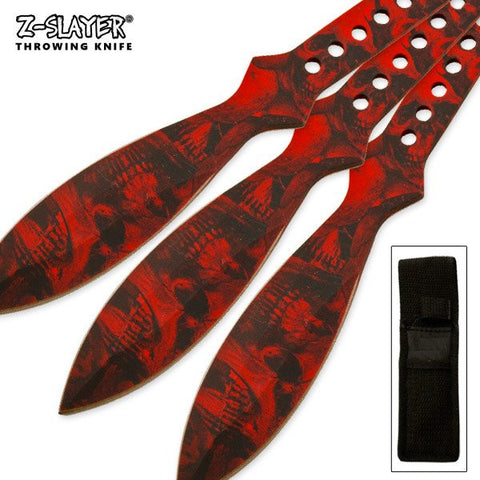 "9"" inch Throwing Knife Set 3 PC Killer Thrower Knives Zombie Red Skull Camo"