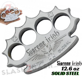 Supreme Irish Dalton Global Brass Knuckles Spiked Paperweight - Silver Chrome Licensed Robbie Dalton Knucks Heavy Duty Steel Buckle Duster