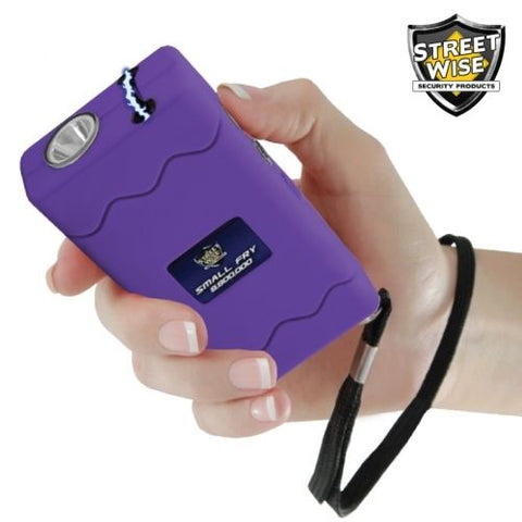 Small Fry 8,800,000 Purple Powerful Mini Stun Gun Flashlight Rechargeable